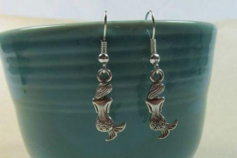 Silver MERMAID Woman Dangle Earrings Ear Hook ~ Nautical Mystical ~ Handcrafted