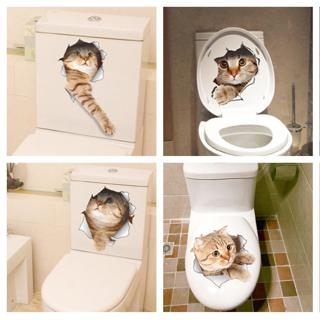 Cat Vivid 3D Smashed Switch Wall Sticker Bathroom Toilet Kicthen Decorative Decals Funny Animals D