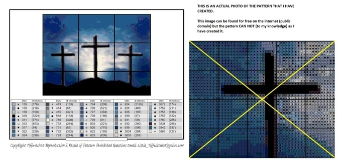 Crosses Against a Blue Sky Cross Stitch Pattern