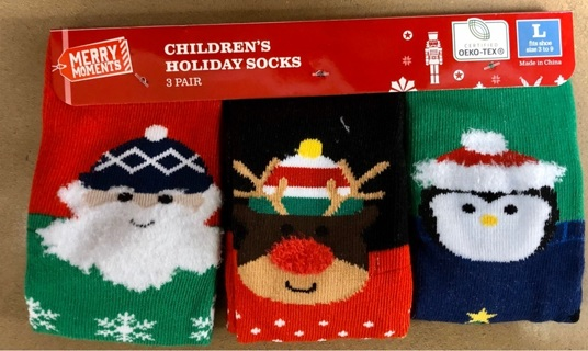 BNWT 3 Pair Children's Holiday Socks. Size L. Fits Shoe Sizes 3-9.