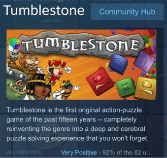 Steam key game Tumblestone