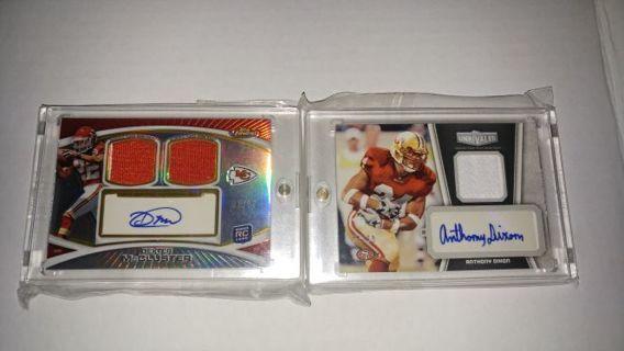 Football Cards LOT OF 2 Dual Triple Jersey Auto Combo MCCLUSTER 63/75 & DIXON 31/50