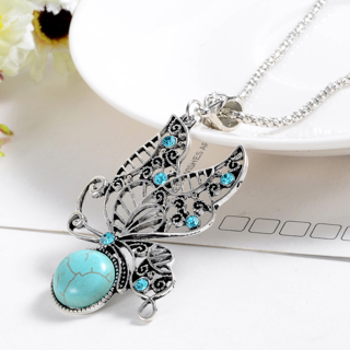 Natural Turquoise Stone Pendant Necklace Women lover Valentine's Day
