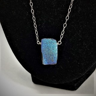 Sterling Reversible Peacock Ore Druzy Necklace