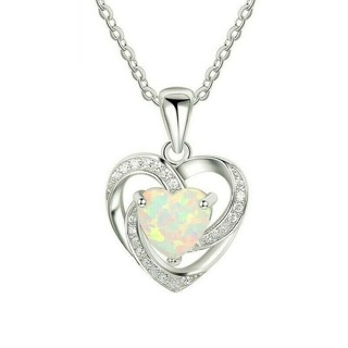 ✿Fast Delivery✿ 925 Silver Plated Faux Opal Heart Cubic Necklace x1pc
