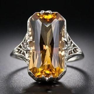 Vintage Women 925 Sliver Ring Citrine Natural Party Wedding Engagement Size 6-10