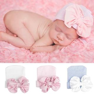 Cute Big Bow Baby Girls Boys Bowknot Cartoon Toddlers Cotton Sleep Cap Headwear Hat 2018 newborn p