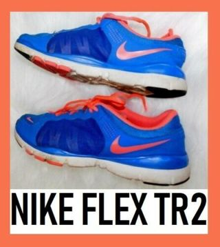 Nike Flex TR2 Trainers Sneakers Blue Coral Mesh Women 9.5 Run Train Marathon