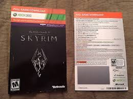 Skyrim The Elder Scrolls V XBox 360 Full Game Digital Download Code! HDD & Live Required To Download