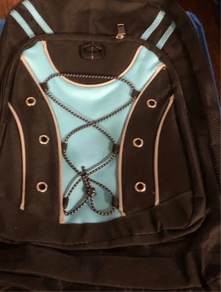 BNWOT Large Sized, Black and Light Blue Backpack w/Great Zippered Compartments & Mesh Pockets