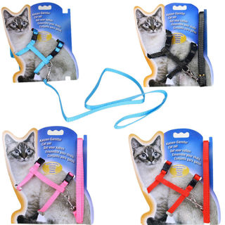Fashion Cat Puppy Adjustable Harness Collar Nylon Leash Lead Safety Walking Rope