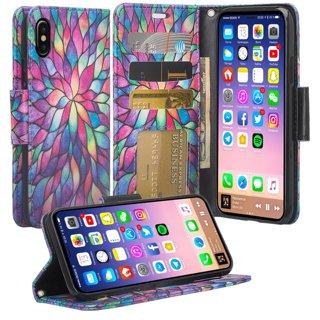 iPhone X Case Wallet Case Wrist Strap Flip Folio Pu Leather with ID&Credit Card Slot Rainbow Flower