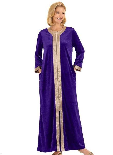 Free New Plus Size Glamorous 2x Black Velour Dressing Gown Robe
