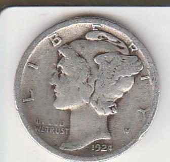 Silver Mercury Dime 1924