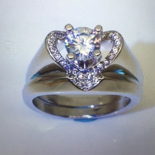 2 Pc white Gold Filled Bridal ring set , Size 7