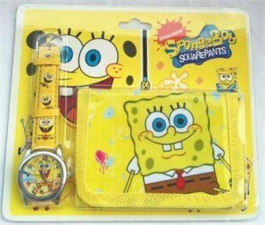 Kids SpongeBob SquarePants Analog Quartz WristWatch and Wallet by Nickelodeon NEW