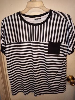 Womens size large shein brand striped shirt/ top