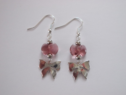 BUTTERFLY with Bow Dangle Earrings NEW Handmade