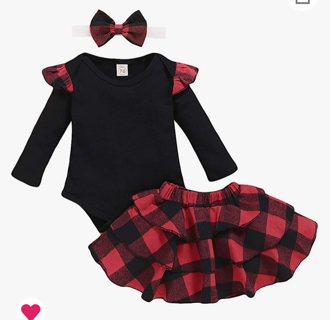 Baby Girl Long Sleeve Plaid Outfit