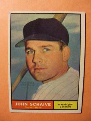 1961 TOPPS BASEBALL CARD EXMT-NRMT NO.  259 - JOHN SCHAIVE -SENATORS