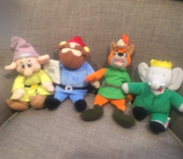 CHOOSE ONE: Babar, Dopey, Robinhood or Rudolph plush