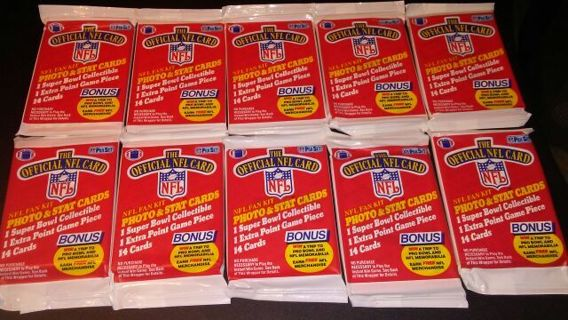 10 1989 NFL pro set sealed packs-possible troy aikman rookie card- football cards