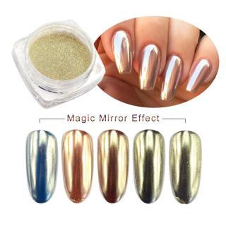1box Magic Mirror Chrome Glitter Powder Nail Art Champagne Silver Mirror Powder Shiny UV Gel Glitt
