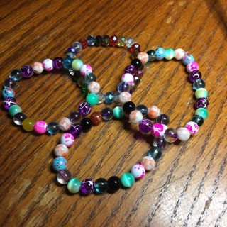 4 colorful handmade beaded bracelet