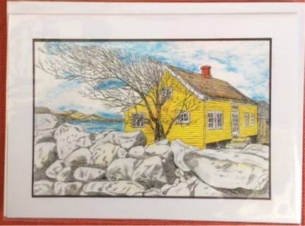"""YELLOW HOUSE ON THE FJORD / 5 x 7"""" art card by artist Nina Struthers - GIN ONLY"""