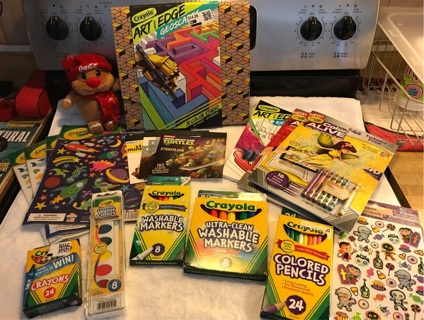 Huge Crayola lot of items markers, crayons, pencils, paints,coloring books, stickers..etc