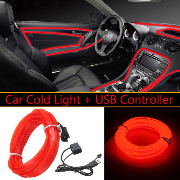 Free 3m 5v Usb Red Led Light Glow El Wire String Strip Rope Tube Car Interior Decor
