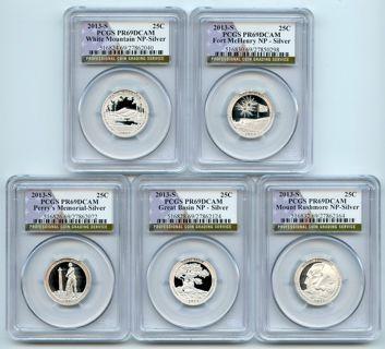 All 5 2013 S Silver National Parks Quarter Set PCGS PR69DCAM - 90% Silver - Best Offer Accepted