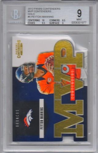 2012 Panini Contenders MVP Contenders Gold 66/100 - Peyton Manning - Broncos BGS 9.0
