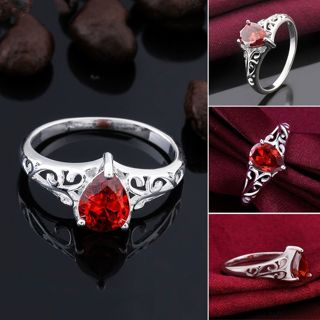 NEW Stunning Sterling Silver .925 Ruby Ring ♥ ♥ 'click'♥ FREE SHIPPING