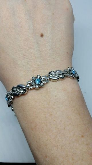 Blue and clear stone hematite? silver bracelet