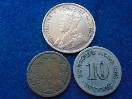1860 1875 & 1911 OLD WORLD COINS ..FULL BOLD DATES!
