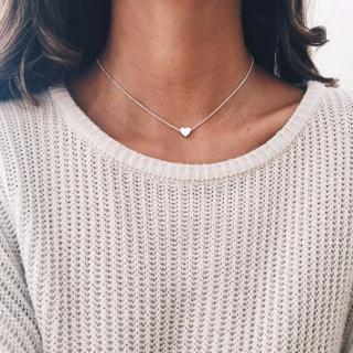 Simple Gold Silver Heart Choker Necklace Tiny Small Heart Chocker Necklace Pendant On Neck Women J