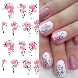 1pcs Pink Flowers Water Transfer Nail Art Sticker Decoration Floral Cherry Nail Decal Wraps Tips M
