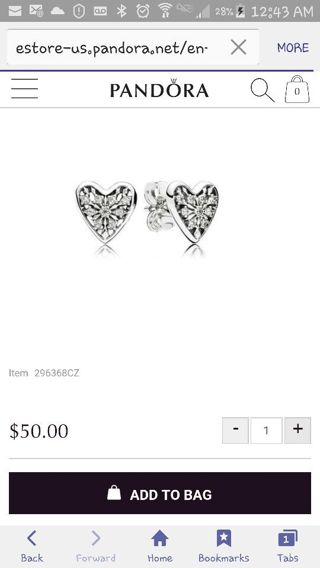 "Authentic Pandora ""Hearts of Winter"" SS Stud Earrings"