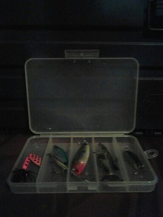 Fazzios Back 3. Small Plastic Container With Lures.