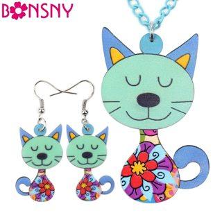 Bonsny Brand Acrylic Cat Necklace Earrings Jewelry Sets Animal Design Choker Fashion Jewelry 2016