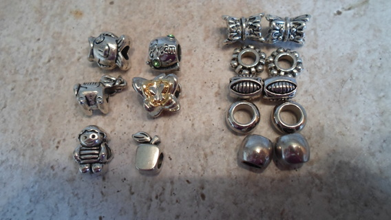 GIN WINS- 16 EURO CHARMS AND SPACERS! PLUS BONUS OF 3 DANGLE CHARMS!
