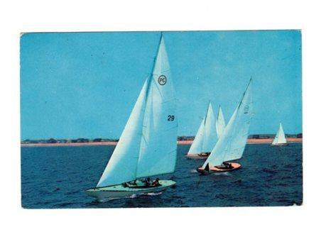 Vintage Used Postcard: 1957 Sailing, Deerfield Beach, FL