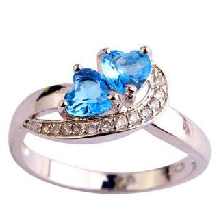 Rings Fashion women Heart Blue White Gemstone Silver Ring Fashion Jewelry   Sz 6 7 8 9