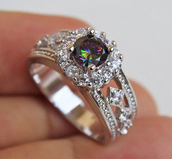 18K White Gold Filled -MYSTICAL Topaz Hollow Flower Rhombus Prom Ring Size 6-10