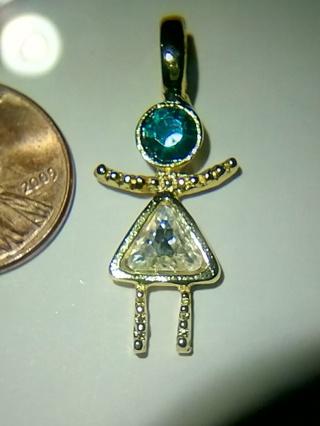 Aqua & Clear Stone,Girl Charm in Blue Bag