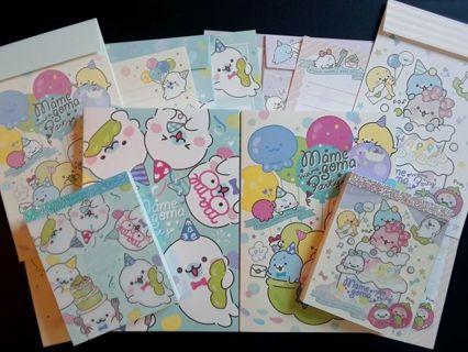 """SanX '2020' Mamegoma """"Mame Party"""" Lot ~2 LG Memo Pads, 2 Mini's & 12 Pc. Letter Set ☆Kawaii Bonus☆"""