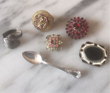 Vintage & Newer Pins & Rings Retro Style (Antique?)