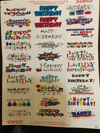 Assorted Happy Birthday Labels