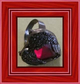 ❤️ Lovely Heart Shaped Ring Framed by Angel Wings in a Bronze Mount